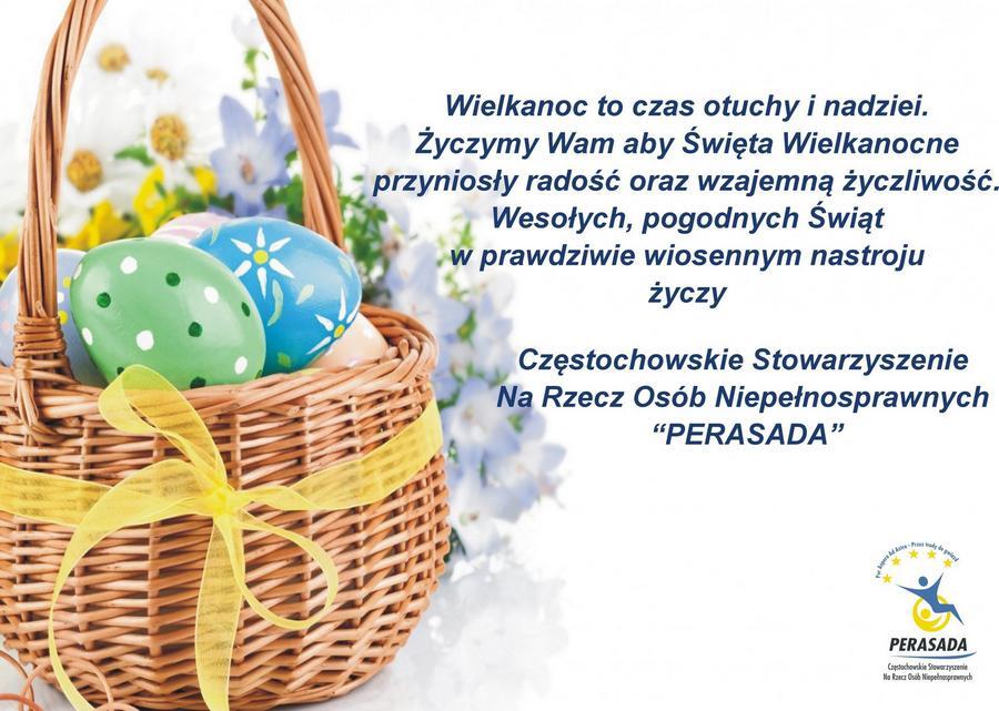 koszyk z jajkami, tekst życzeń