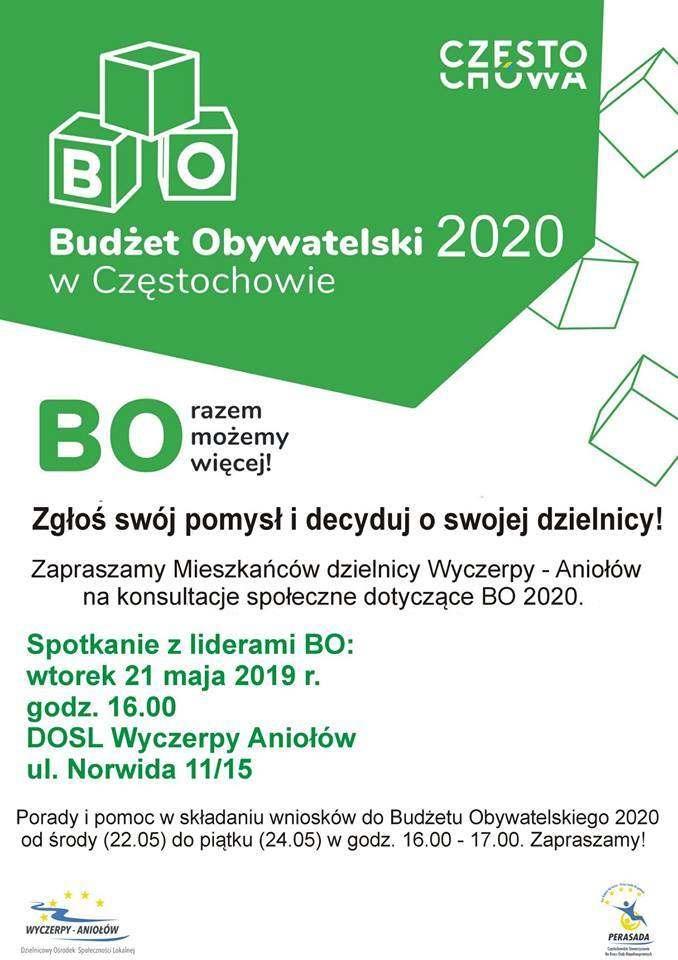plakat Konsultacje Społeczne dotyczące Budżetu Obywatelskiego w Częstochowie na rok 2020